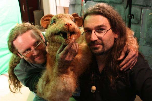 "James Blackburn, Hensen the Rat, and Shawn Darling on the set of ""The Witching H"