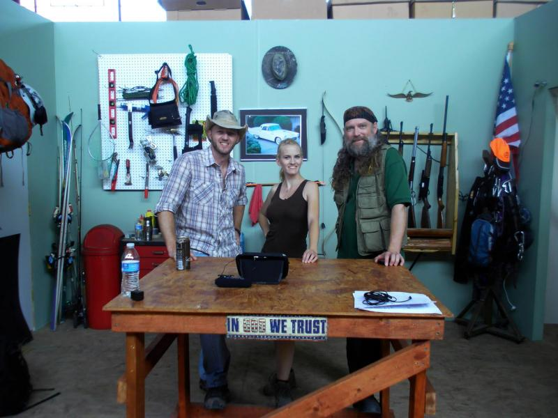 "Jason Hill, Dani Lenski and James Blackburn on the set of ""No Joke Survival"""